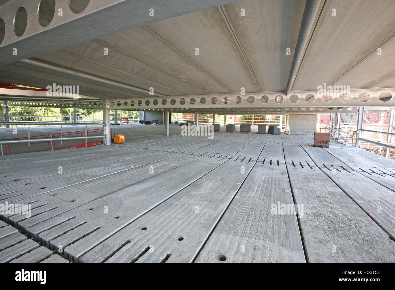 Construction site, PCC precast plank floor deck, structural steel ...