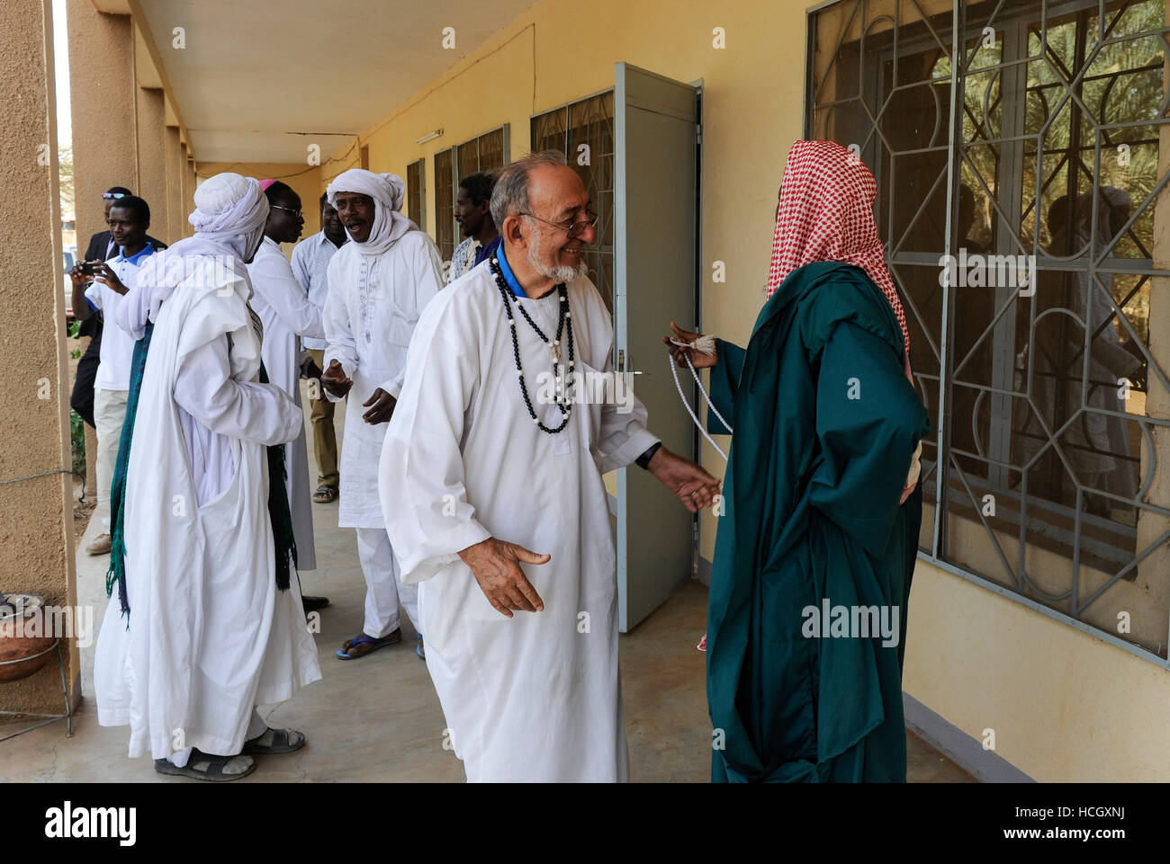 BURKINA FASO Dori, dialogue Christianity and Islam, invitation of new appointed Imam by catholic priests at diocese Stock Photo