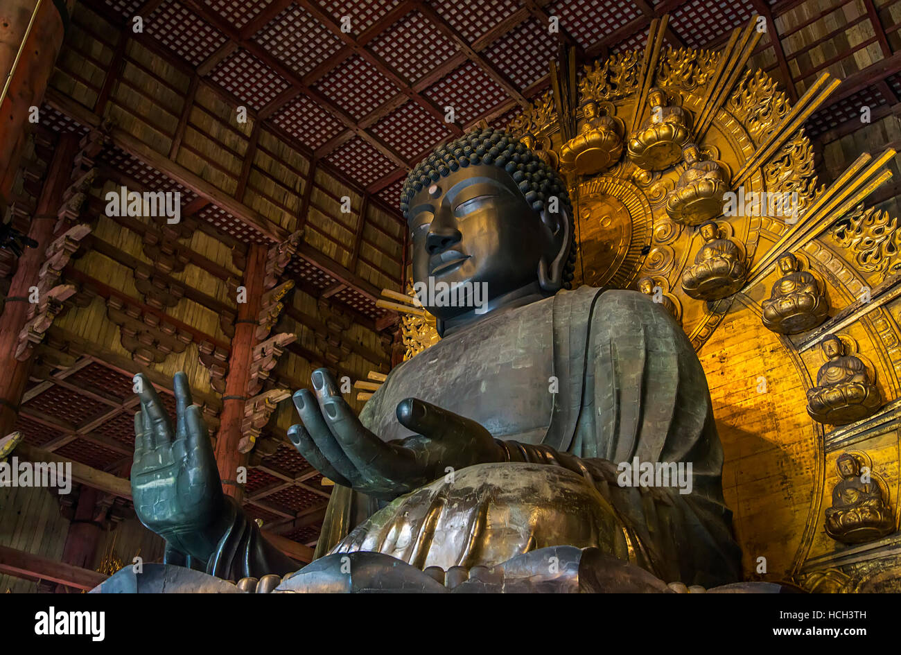 Detail from the Todaiji temple in Nara, Japan - Stock Image