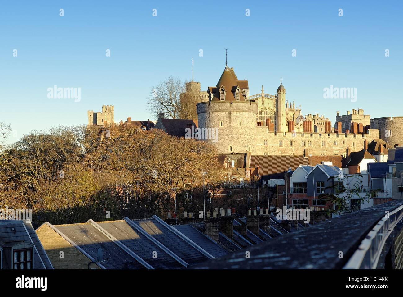 Windsor Castle at sunset Berkshire Uk - Stock Image