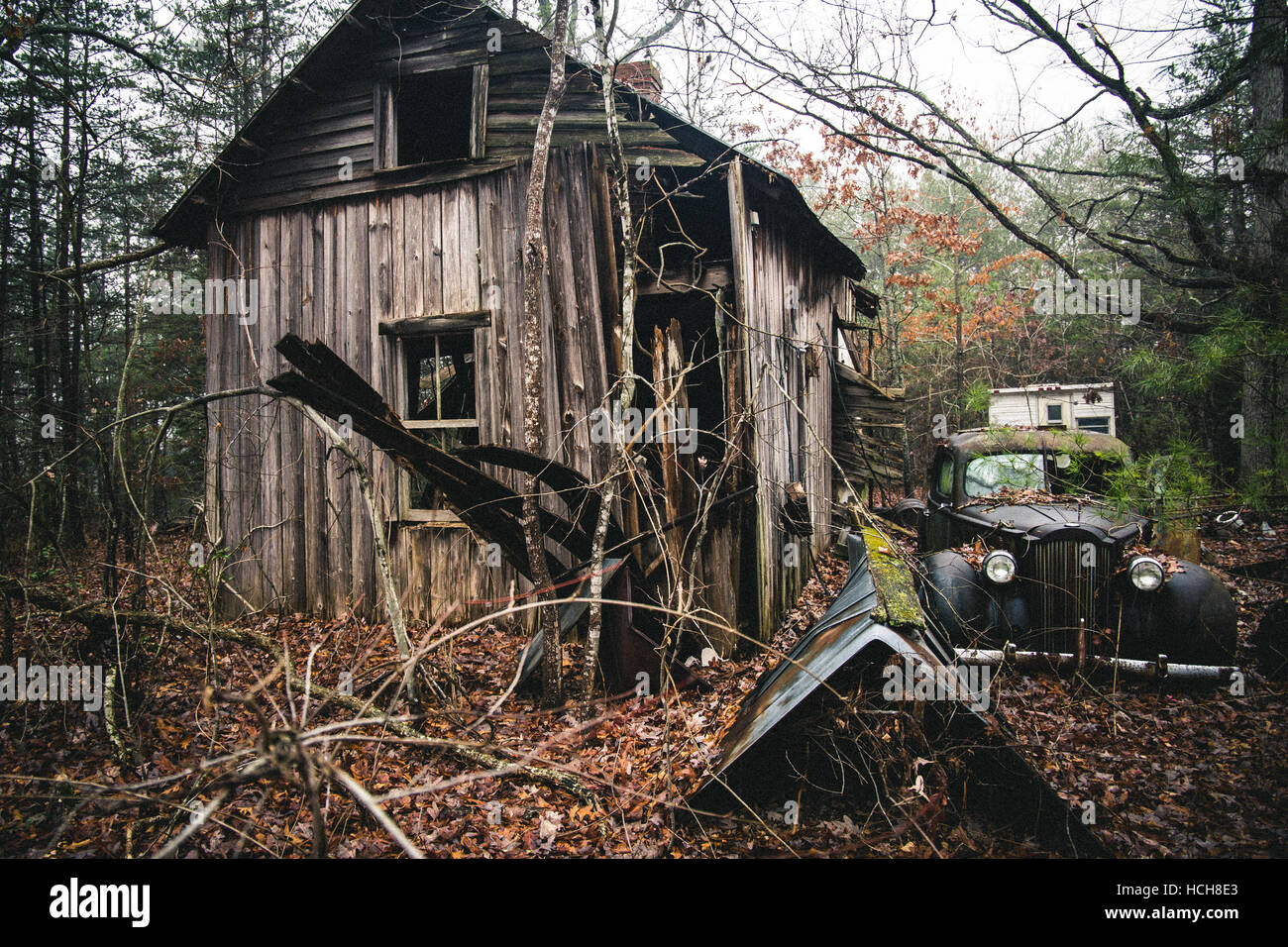 Abandoned, Overgrown House Falling Apart In The Woods, Beside An Antique Car