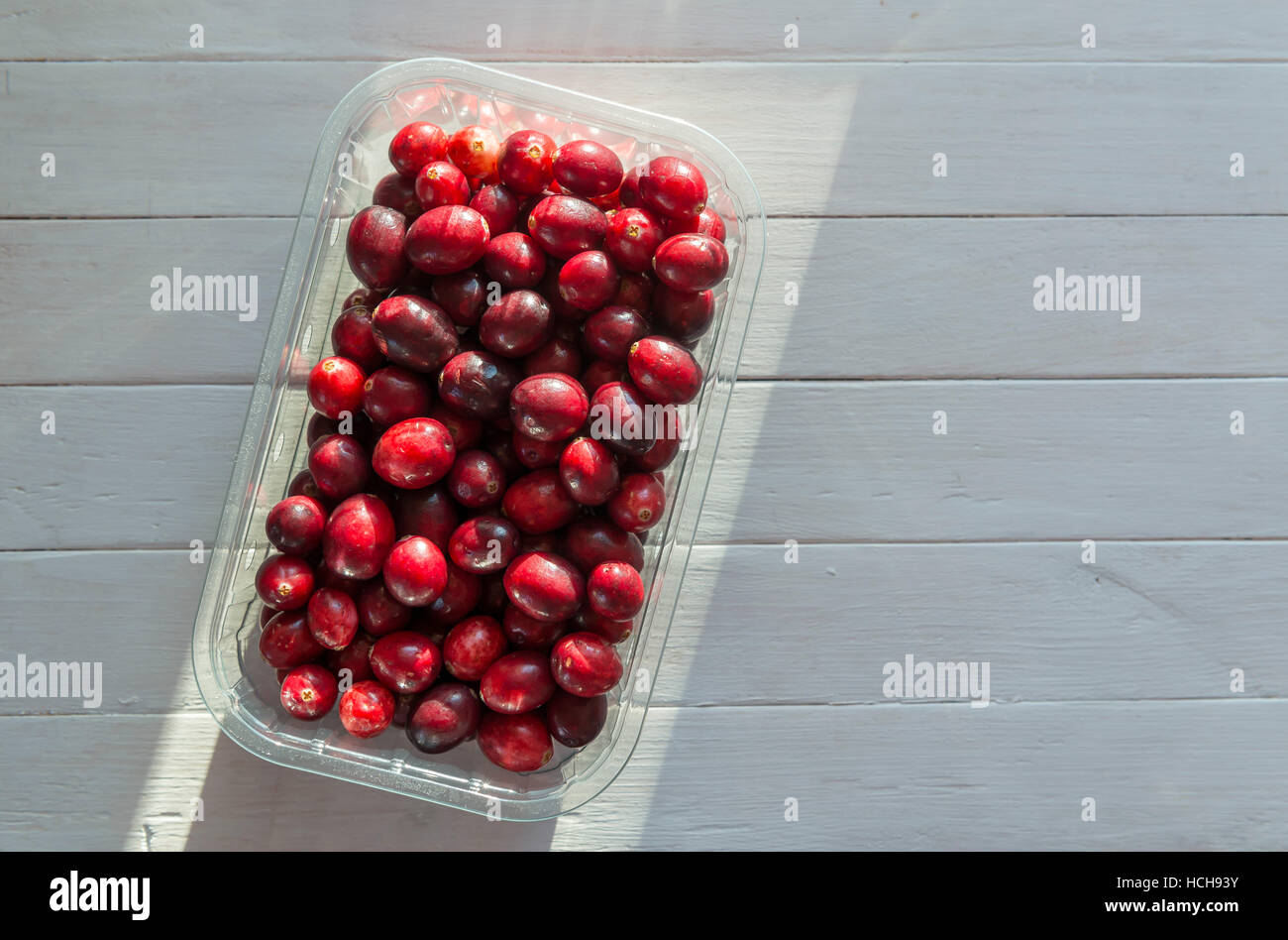 Cranberries in a punnet - Stock Image