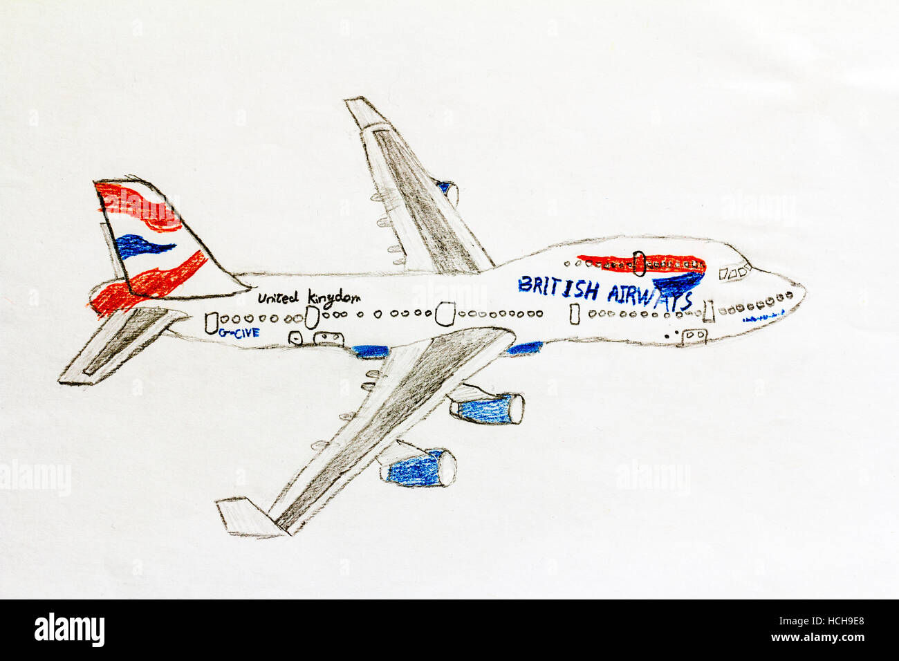 Child's colour drawing of a British Airways 747 jumbo jet. Side view. Stock Photo