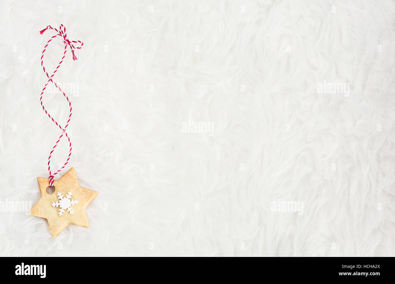 Christmas biscuit on white background - Stock Image