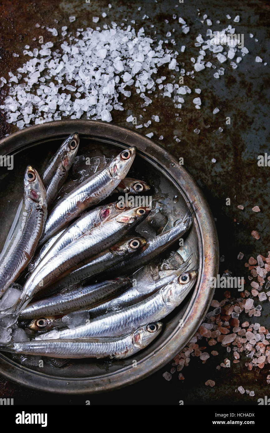 Lot of raw fresh anchovies fishes on crushed ice in vintage plate with pink and sea salt over old dark metal background. - Stock Image