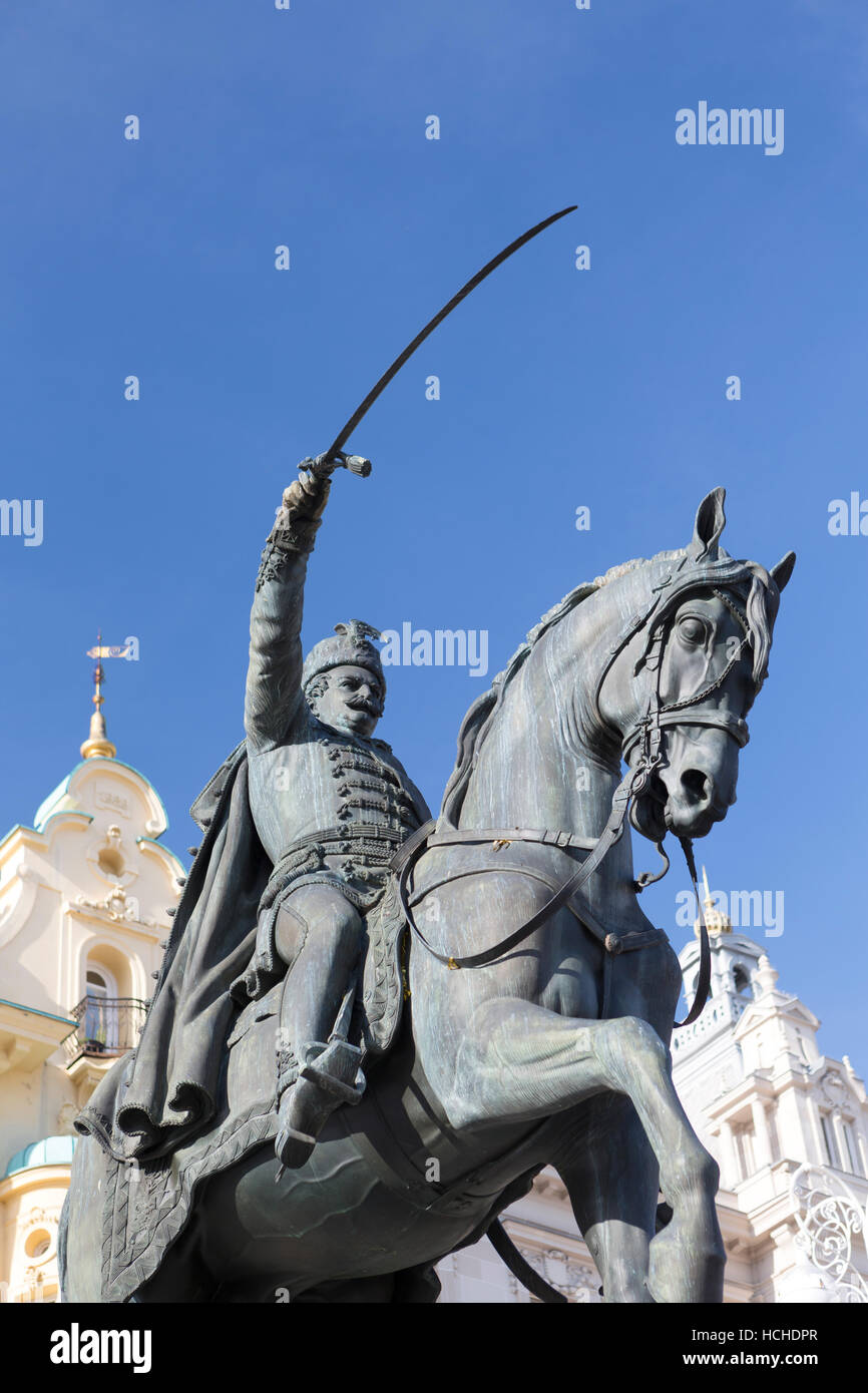 Croatia, Zagreb, equestrian statue of Count Josip Jelacic (1801-59) in the main square - Trg bana Jelacica. Stock Photo