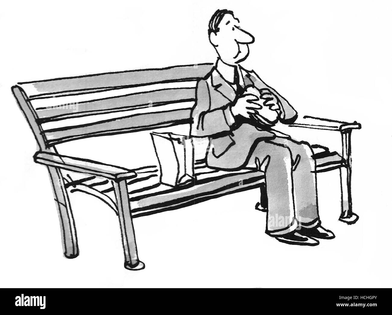 Terrific Black And White Illustration Of Man Eating A Sandwich While Machost Co Dining Chair Design Ideas Machostcouk