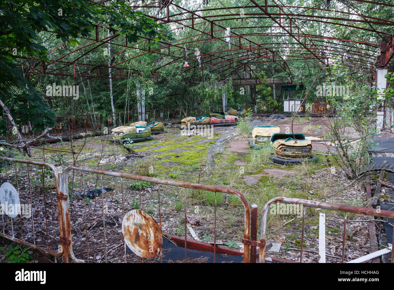 The bumber cars of the Prypiat amusement park. The park has become a symbol of the 1986 Chernobyl nuclear disaster. - Stock Image