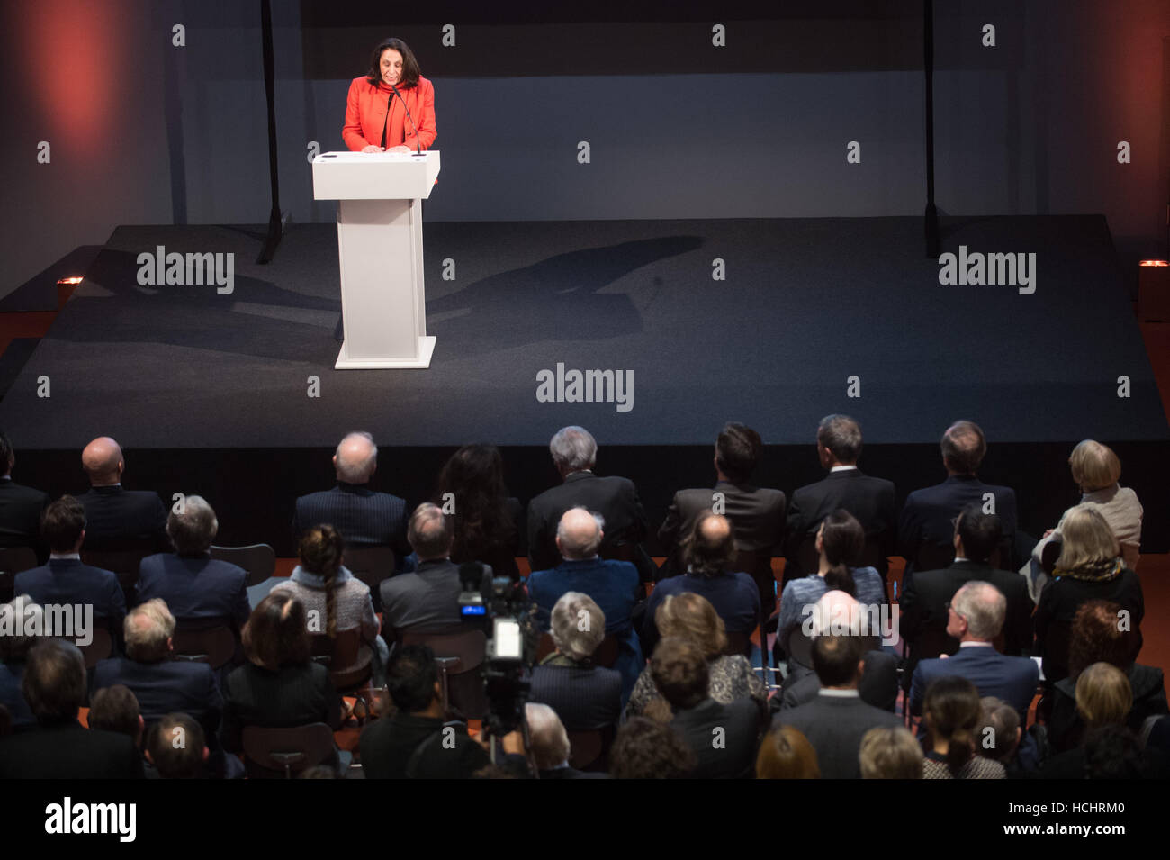 Berlin, Germany. 8th Dec, 2016. Mariam Said, wife of the co-initiator Edward Said, speaks during the opening of - Stock Image