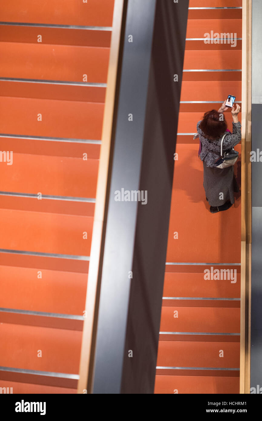 Berlin, Germany. 8th Dec, 2016. A visitor takes a photo at the Barenboim-Said-Akademie in Berlin, Germany, 8 December - Stock Image