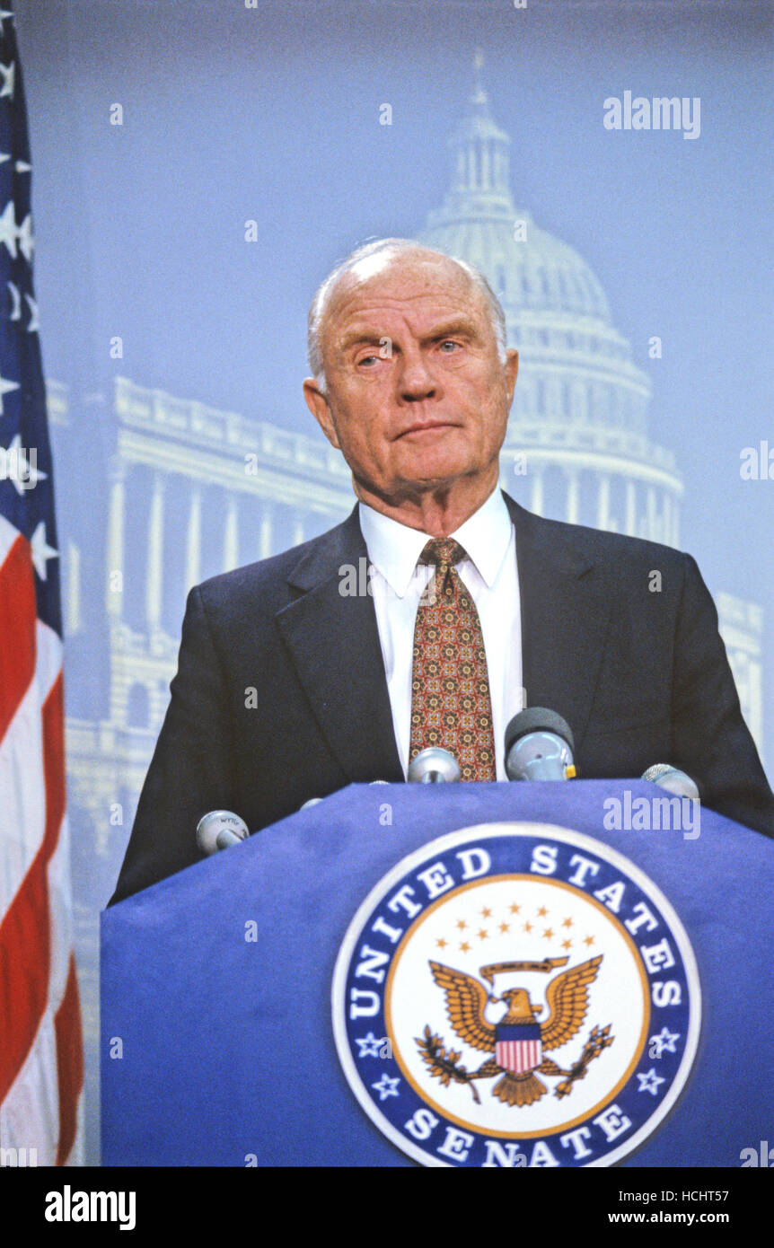 United States Senator John H. Glenn, Jr. (Democrat of Ohio) makes a statement in the U.S. Capitol following the - Stock Image