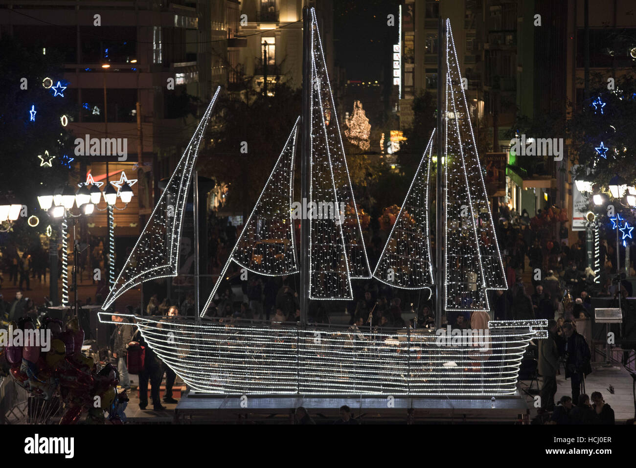 Christmas Boat Greece.Athens Greece 9th Dec 2016 Although Christmas Trees Are