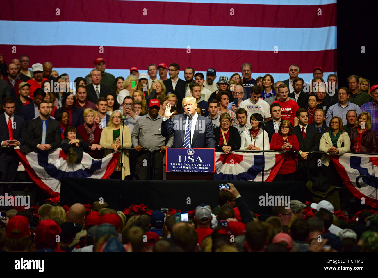 Grand Rapids, USA. 09th Dec, 2016. President Elect Donald J. Trump on stage speaking during the Thank You Tour 2016 - Stock Image