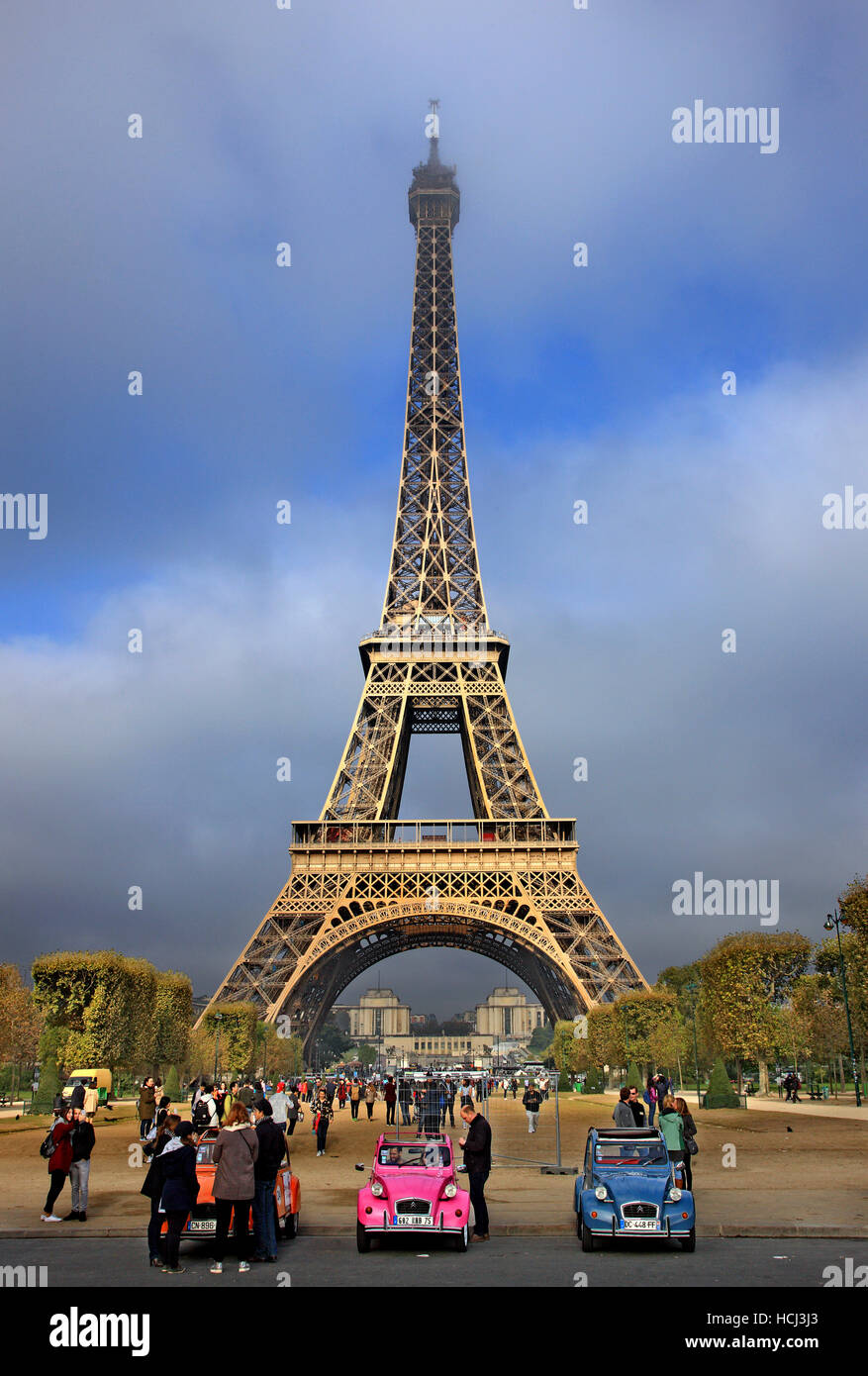 View of the Eiffel tower from the side of Champ de Mars, Paris, France. Stock Photo