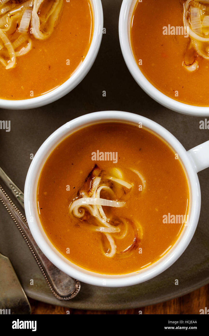 Pumpkin soup with leeks - Stock Image