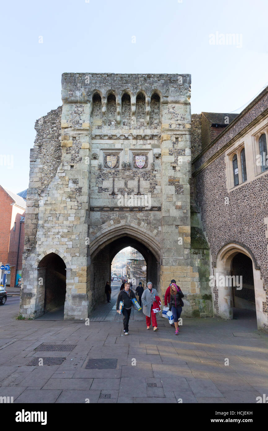 The 12th century medieval Westgate, now a museum, Winchester, Hampshire England UK - Stock Image