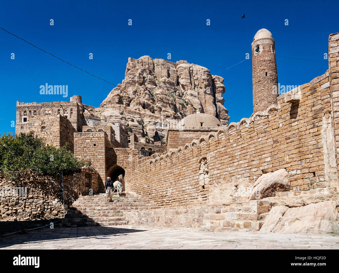 street in traditional old yemeni heritage shibam village near sanaa yemen - Stock Image