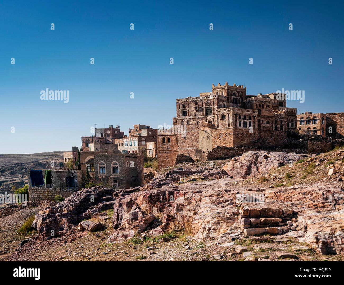 thila old arabian village landscape view in rural yemen near sanaa - Stock Image