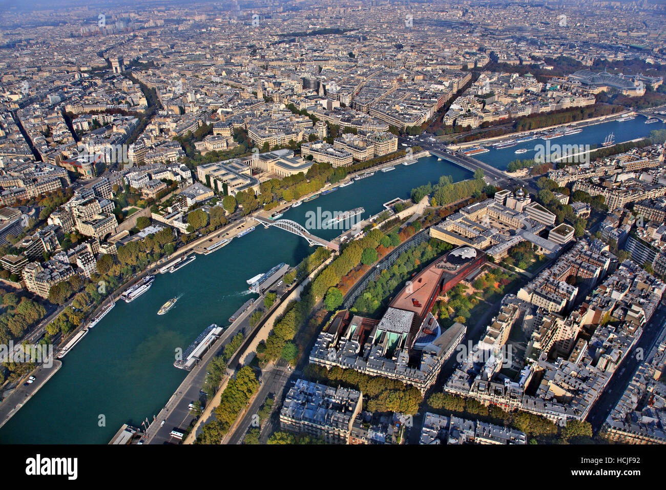 Panoramic view of Paris and Seine river  from thet top of Eiffel Tower, Paris, France - Stock Image