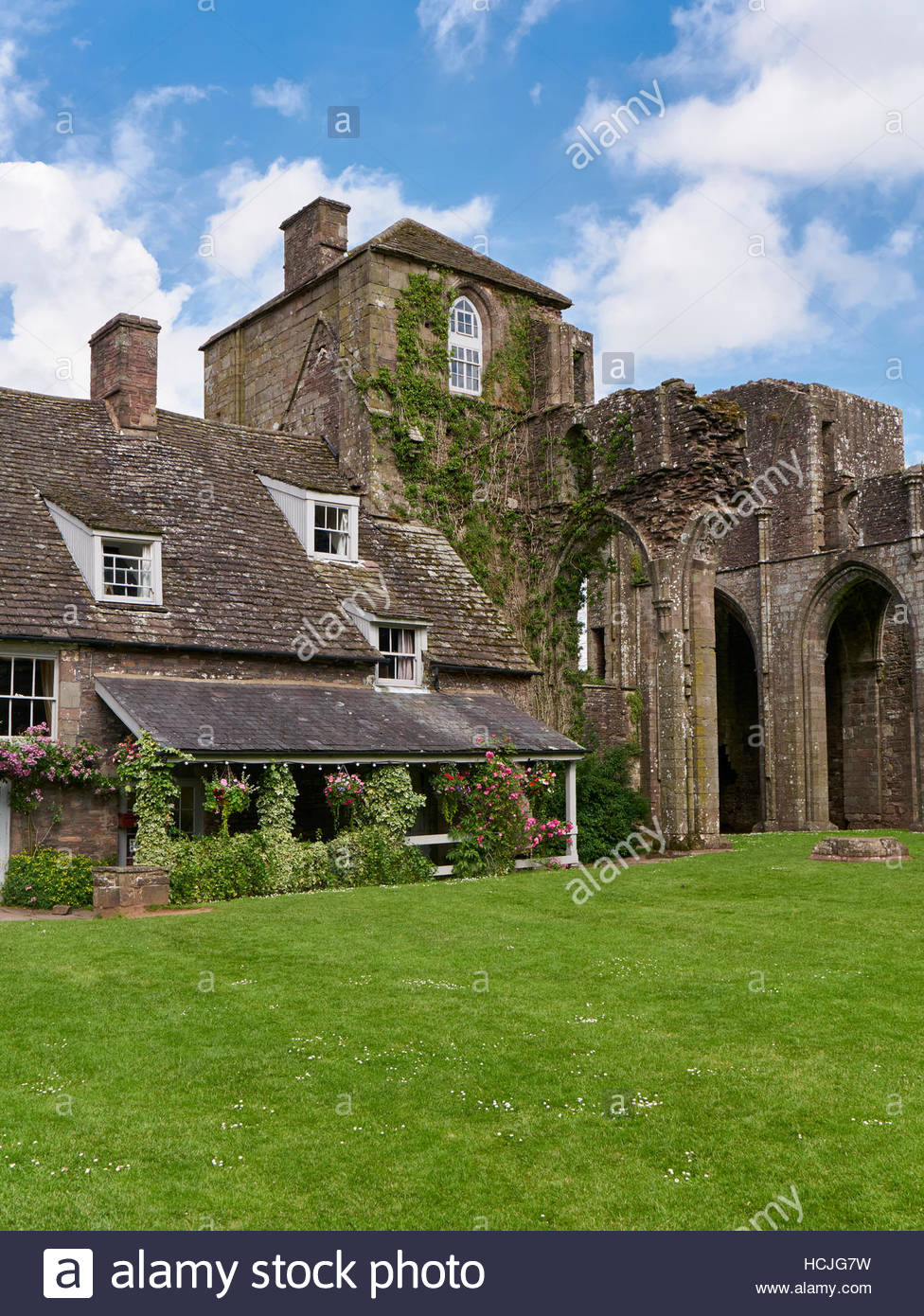 the cafe tea rooms in Llanthony priory hotel in the Vale of Ewyas valley abergavenny monmouthshire Stock Photo