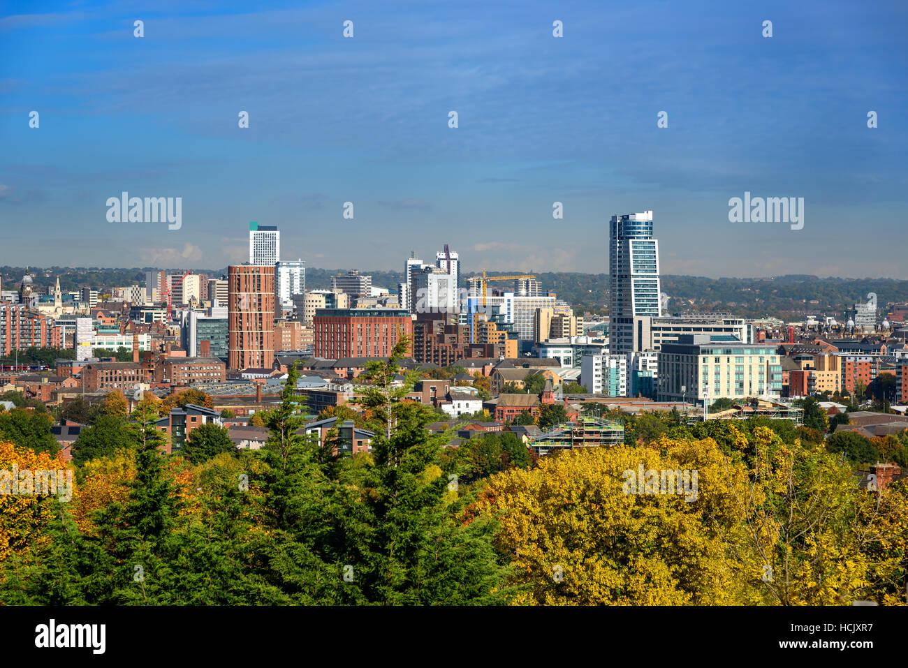 Leeds city skyline Yorkshire united kingdom . - Stock Image