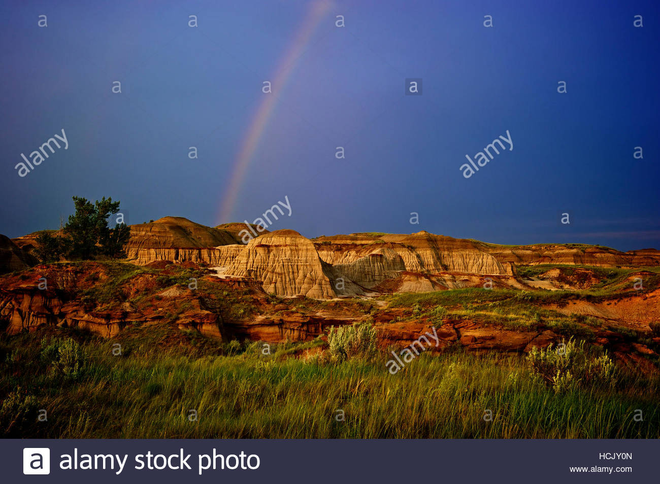 The evening light shines on a rainbow in the badlands at Dinosaur Provincial Park in Alberta, Canada. - Stock Image