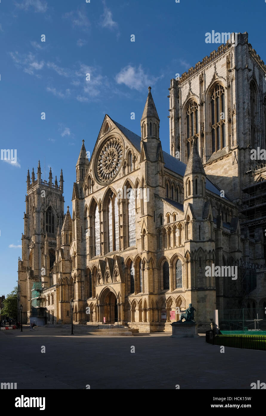 York Minster the exterior of the south transept, c. 1240, showing elaborate arrangement of windows and arcading. - Stock Image