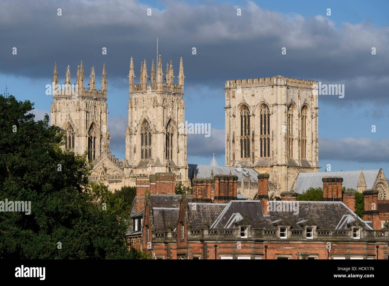 York Minster: view of towers and rooftops. - Stock Image