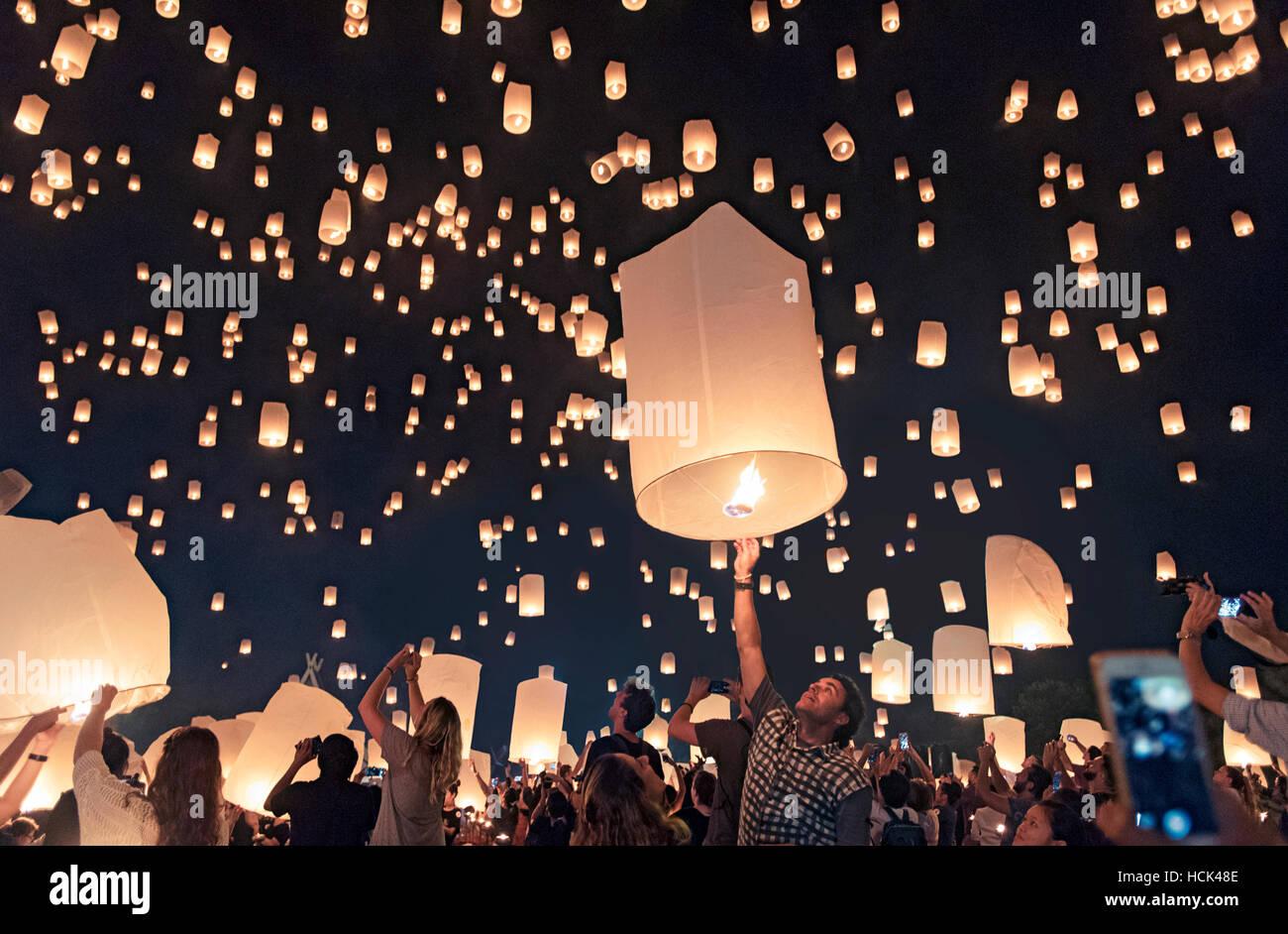 Yi Peng Lantern Festival; Chiang Mai, Thailand - Stock Image