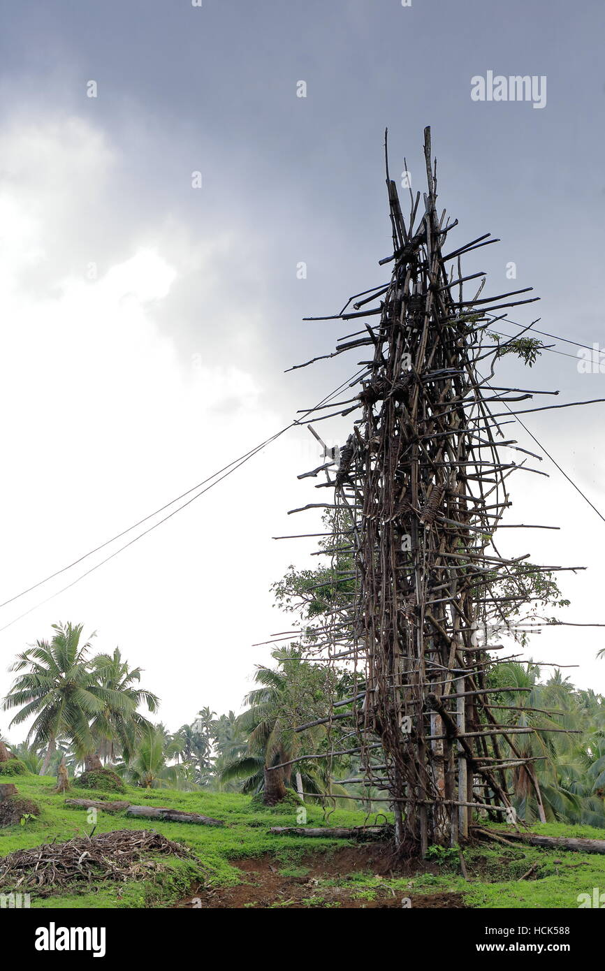 C.25 ms.tall tower for local nanggol or land diving ritual performed april-june by the men with vines tied to their - Stock Image