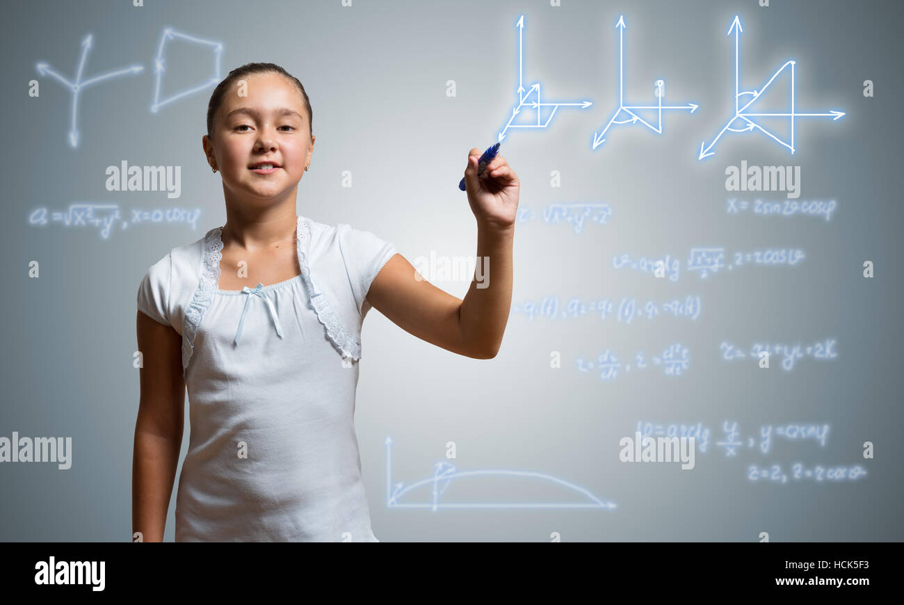 School girl draw on screen - Stock Image