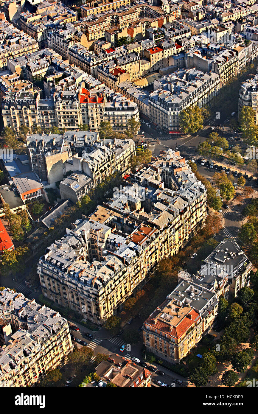 View of typical neighborhood on the right bank of river Seine from the tope of Eiffel tower, Paris, France. - Stock Image