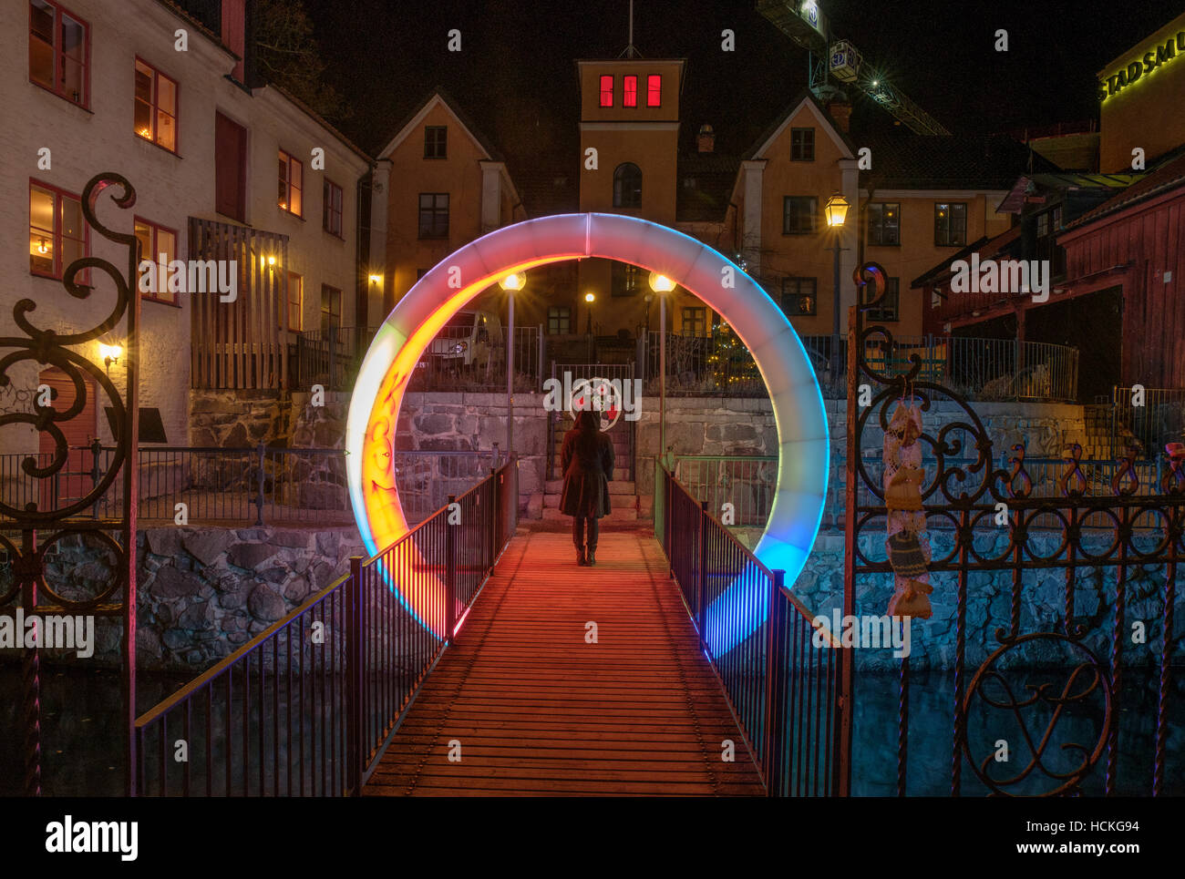 Norrköping Light festival 2016-2017 in the unique industrial landscape in the city center of Norrkoping. - Stock Image