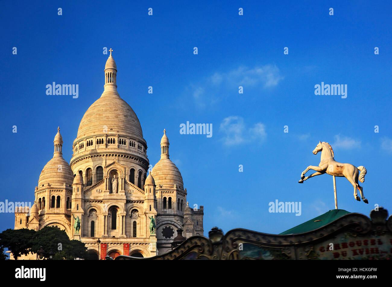 The Basilique du   Sacré-Cœur ('Basilica of the Sacred Heart), simply known as 'Sacré-Cœur', - Stock Image