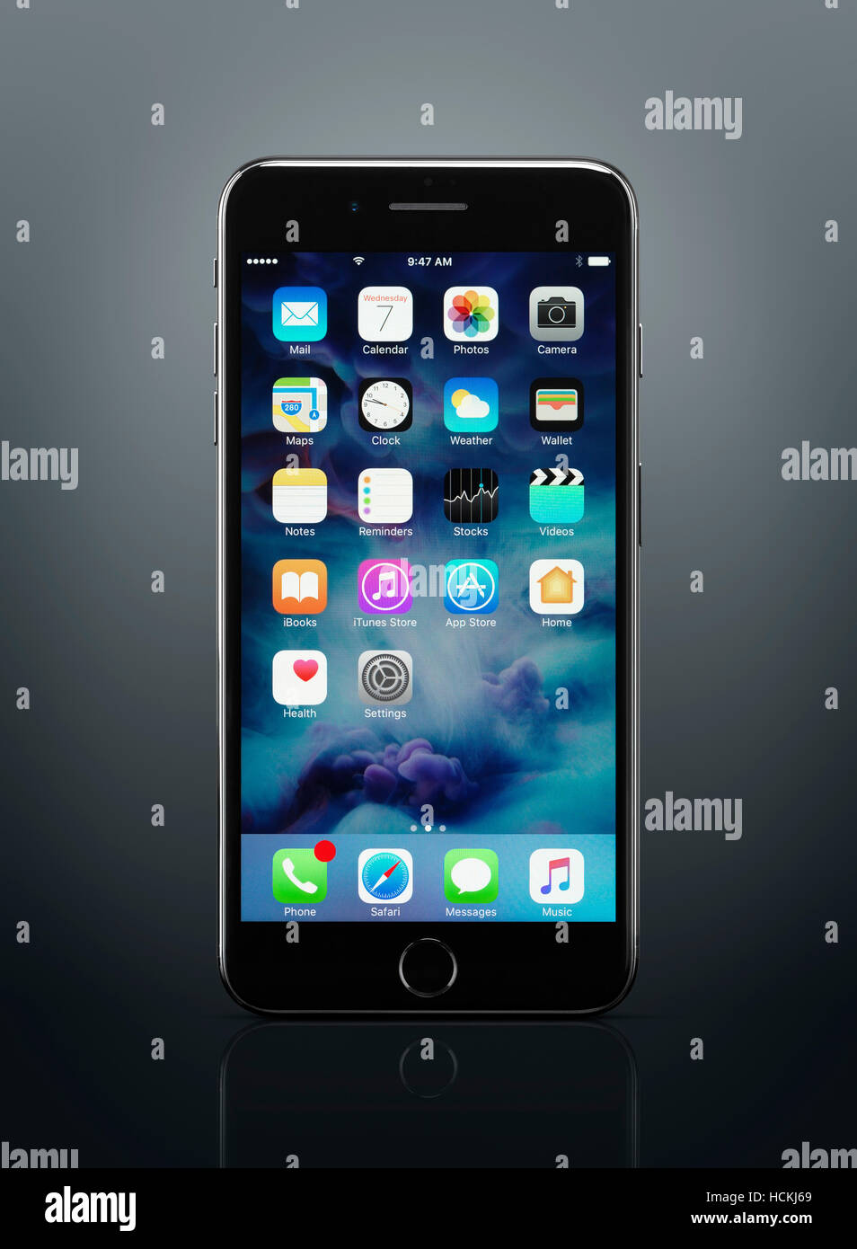 2897e8ed1fe Apple iPhone 7 Plus black with desktop icons on its display isolated on  dark gray background with clipping path