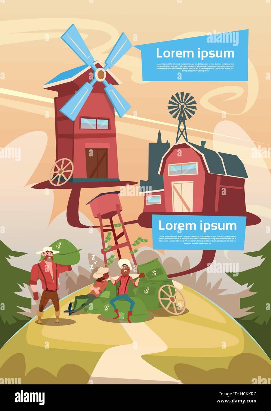 Rich Farmers Countryman With Money Sacks Farm Background - Stock Vector