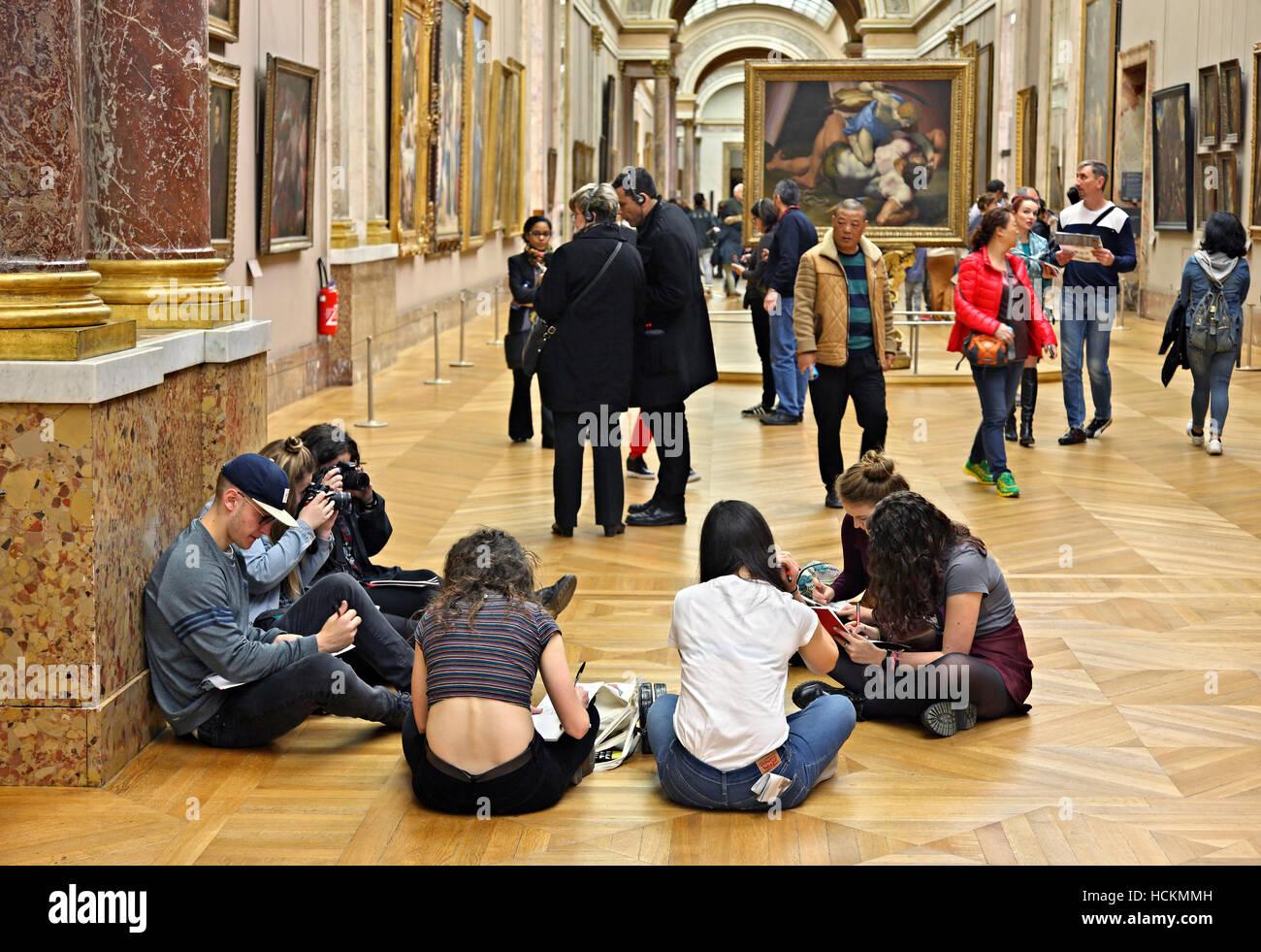 The Grande Galerie, Louvre museum, Paris, France. Stock Photo