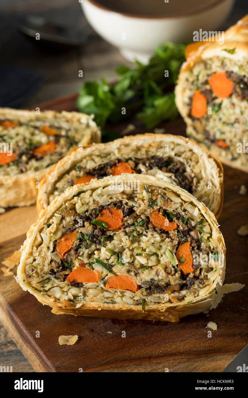 Homemade Holiday Vegan Wellington  with Carrots, Beans, Mushrooms - Stock Image