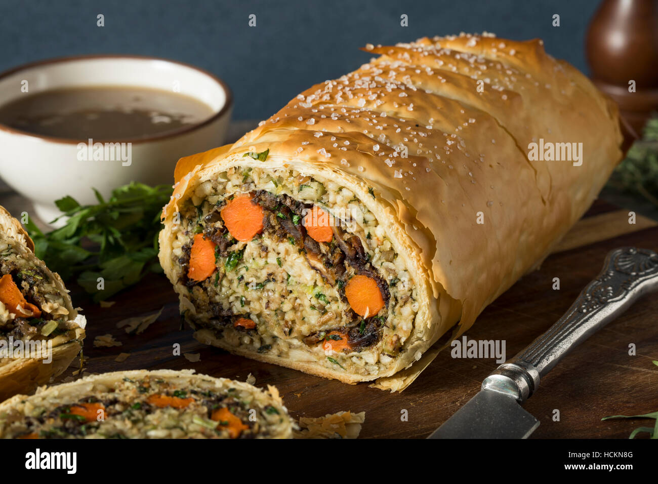 Homemade Holiday Vegan Wellington  with Carrots, Beans, Mushrooms Stock Photo