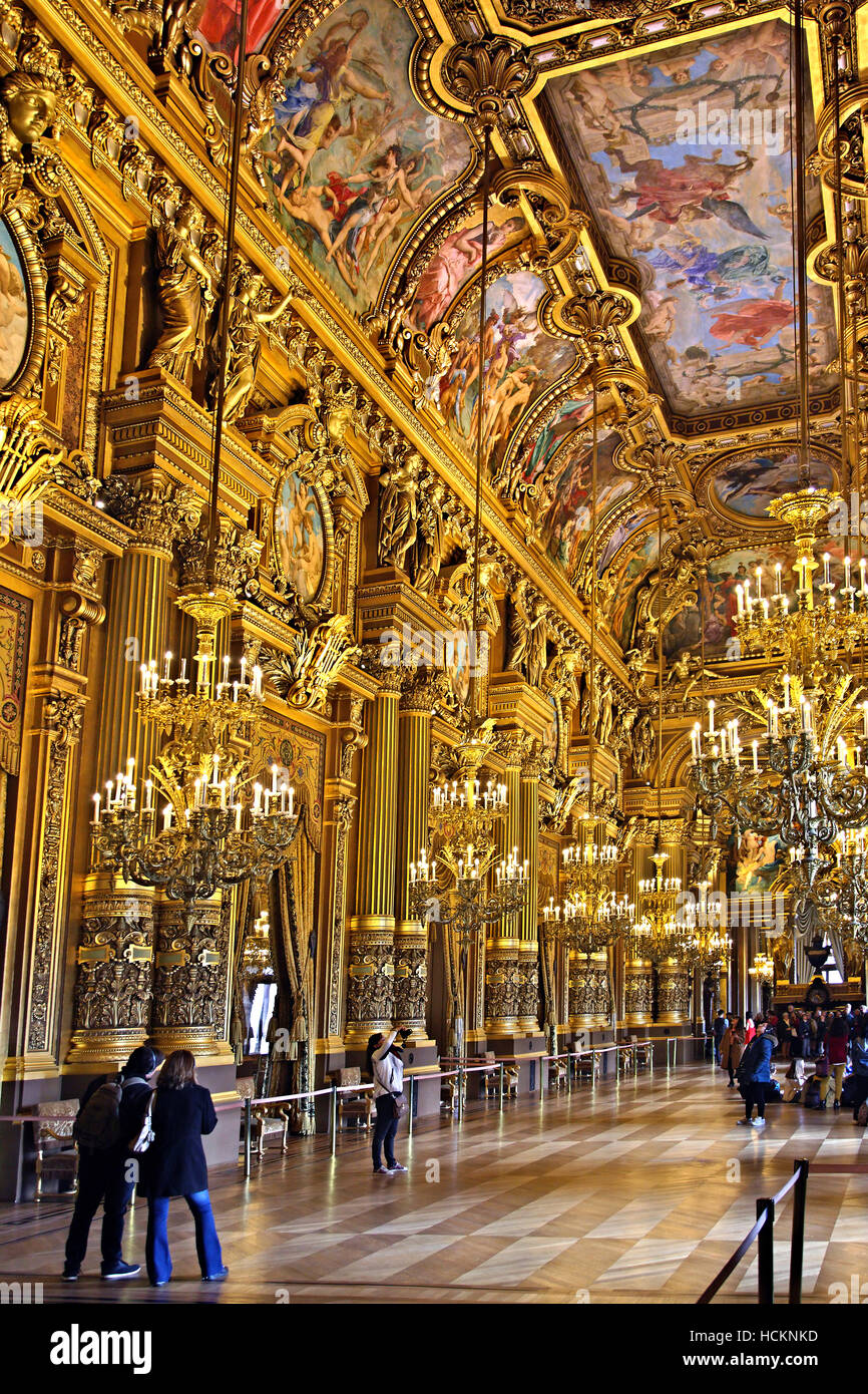 The Grand Foyer in Palais Garnier, National Opera House, Paris, France. - Stock Image