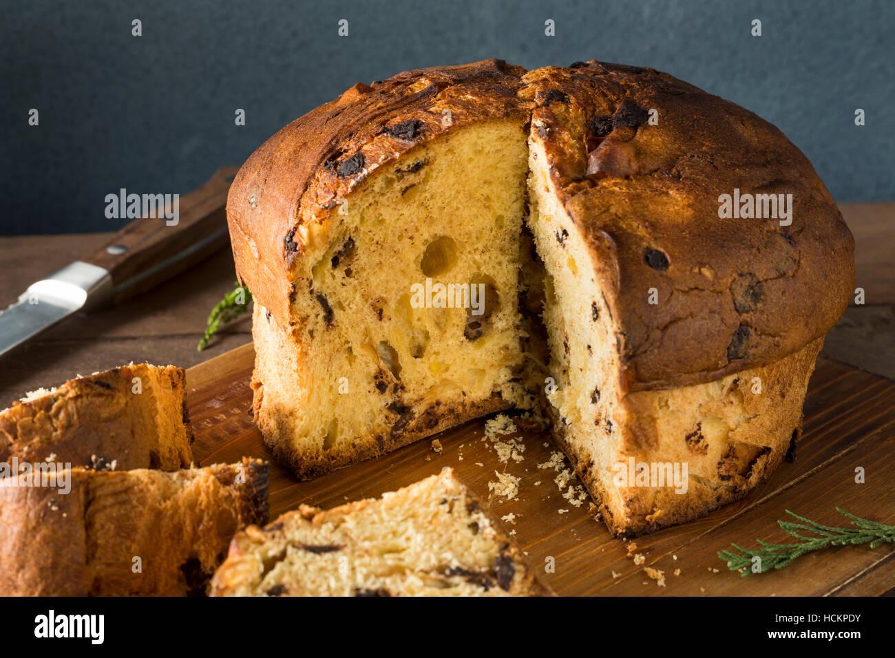 Homemade Chocolate and Fig Pannetone for Christmas - Stock Image