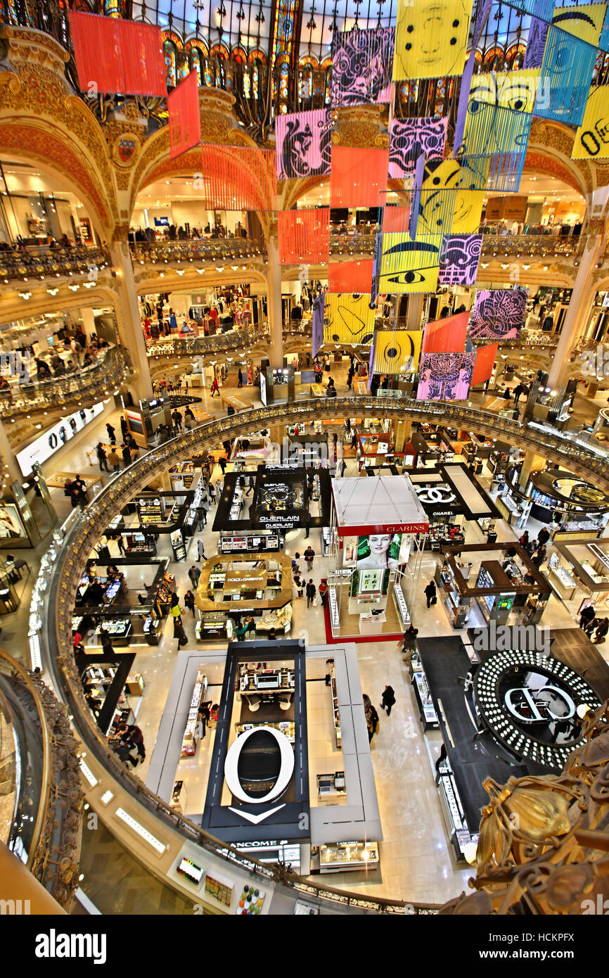 The Galeries Lafayette, the most famous Parisienne shopping center (since 1894), at 9th arrondissement, Paris, France Stock Photo