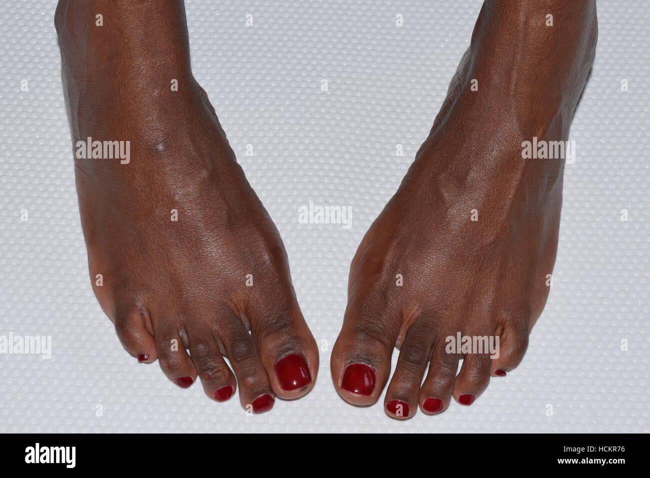 Healthy female feet pedicured - Stock Image