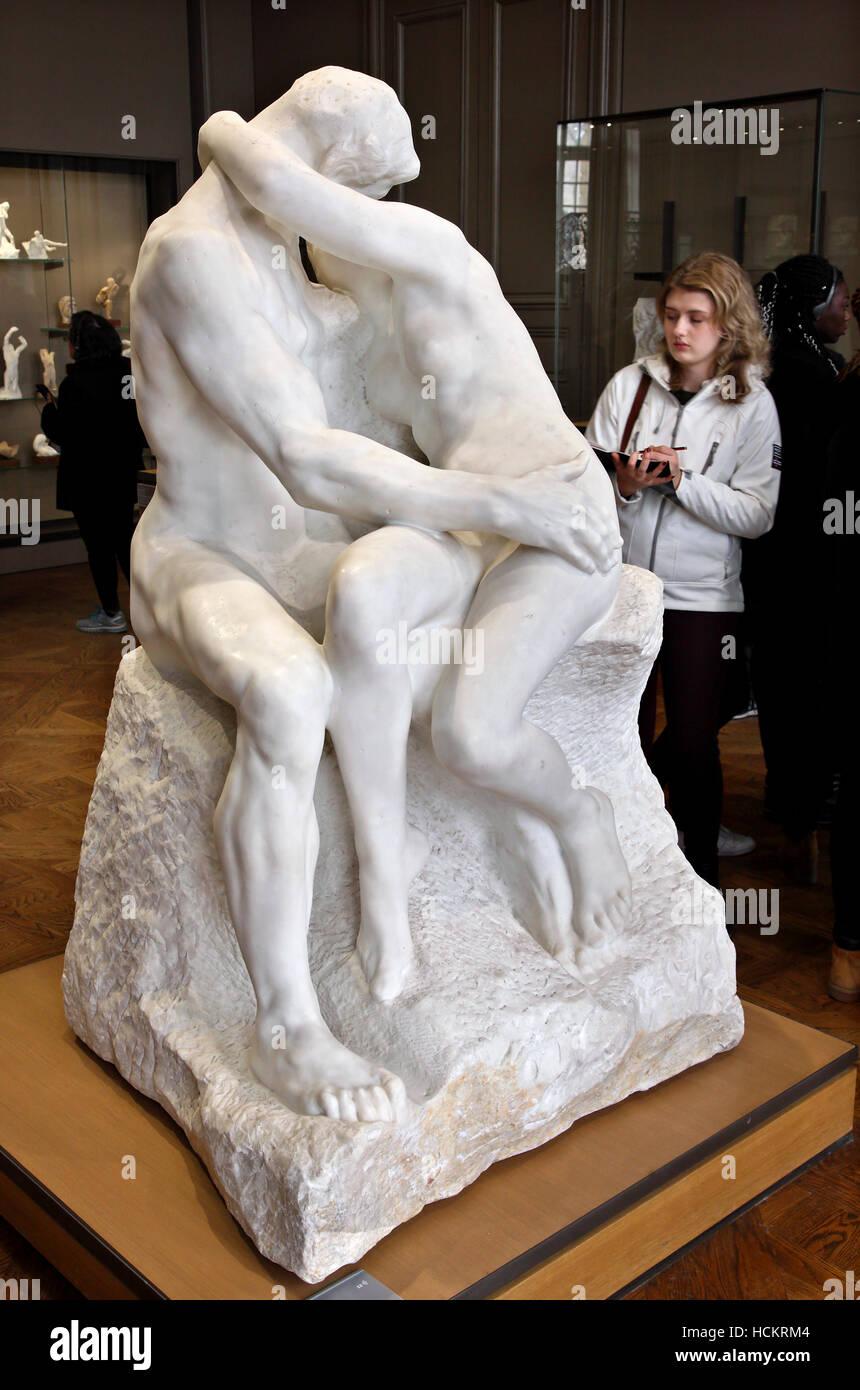 """The Kiss"" (Le Baiser) by Auguste Rodin in Rodin Museum, Saint-Germain, Paris, France Stock Photo"