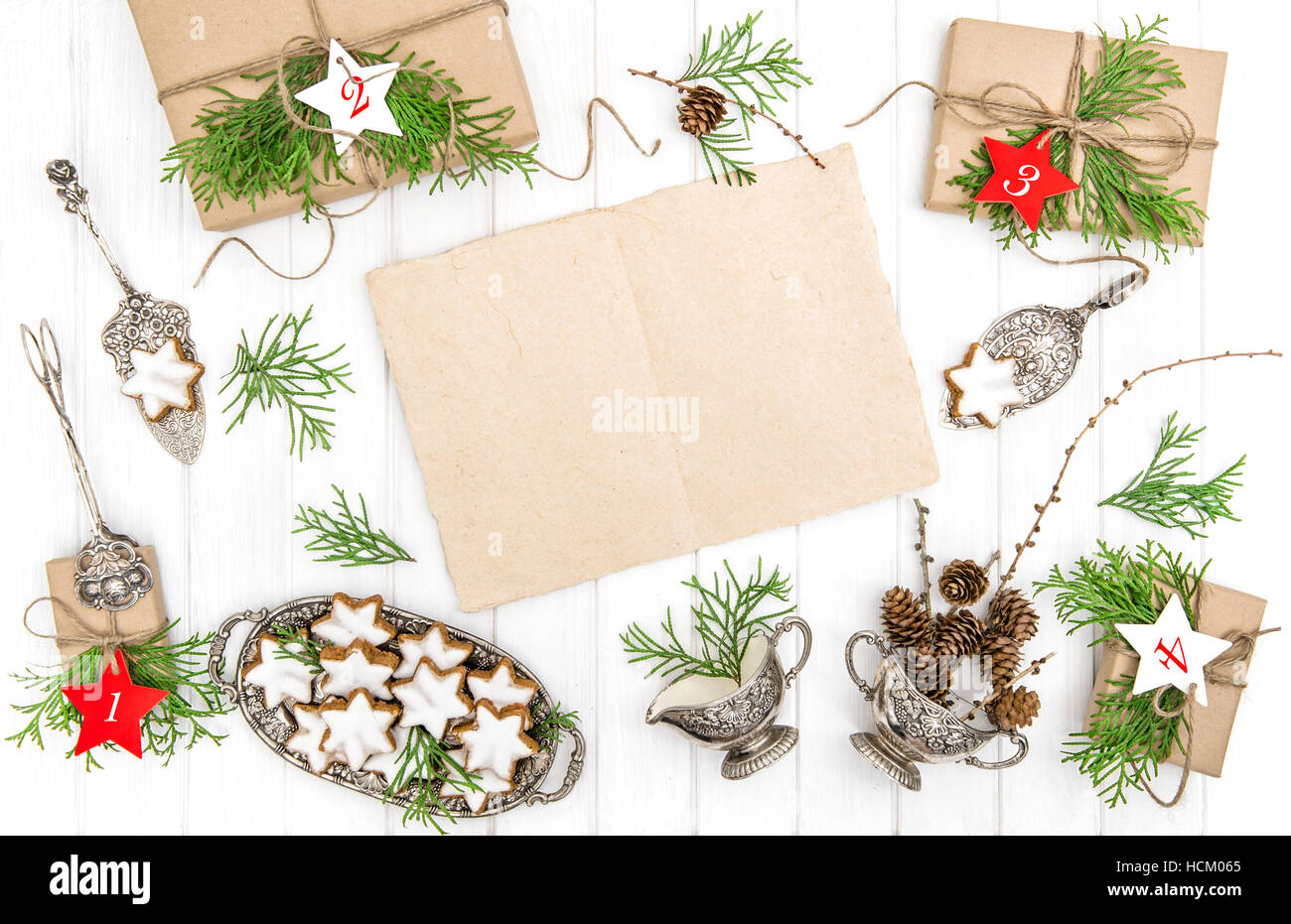 advent calendar christmas cookies gifts and paper sheet for your