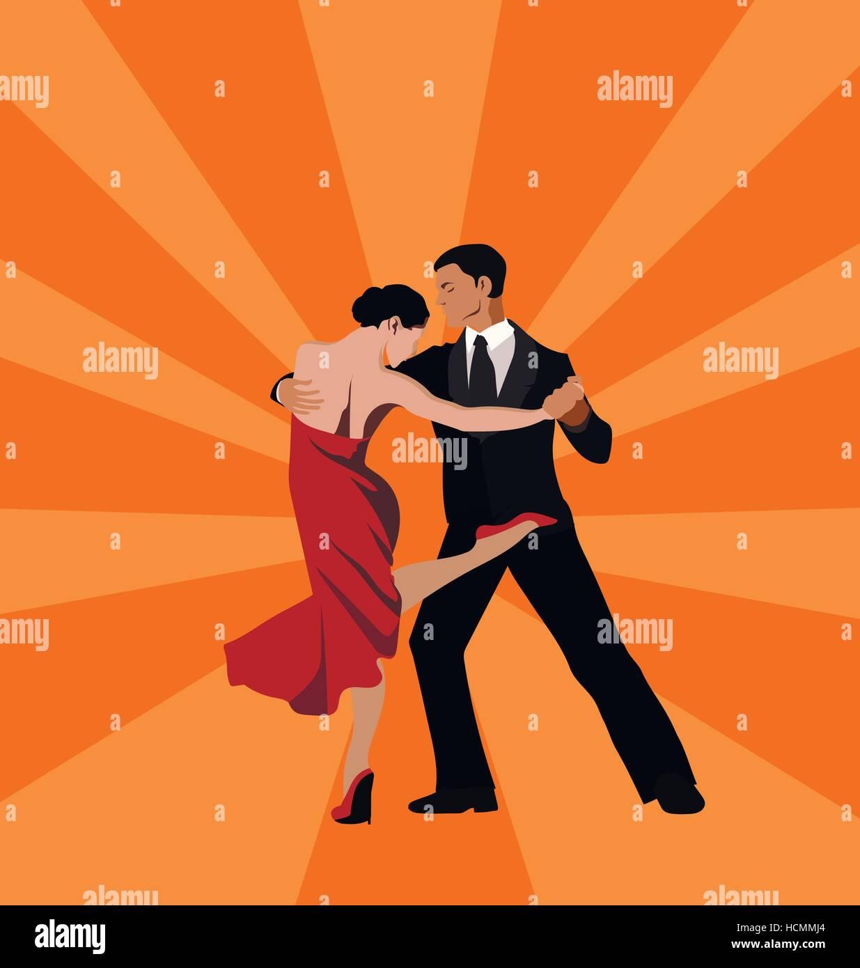 International tango day (dancing pair: man and woman) Stock Vector