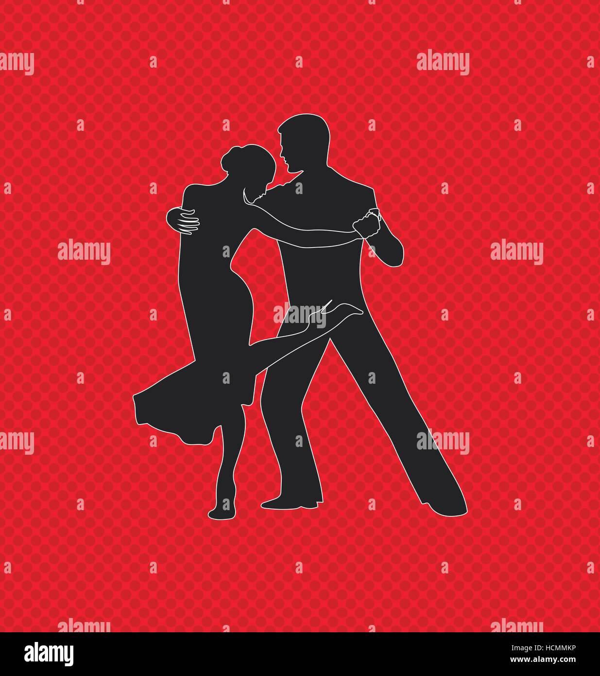 Tango or salsa dancing pair. Internationa, tango day Stock Vector