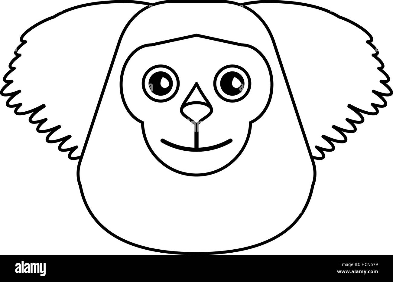 black bearded saki animal brazil outline - Stock Image
