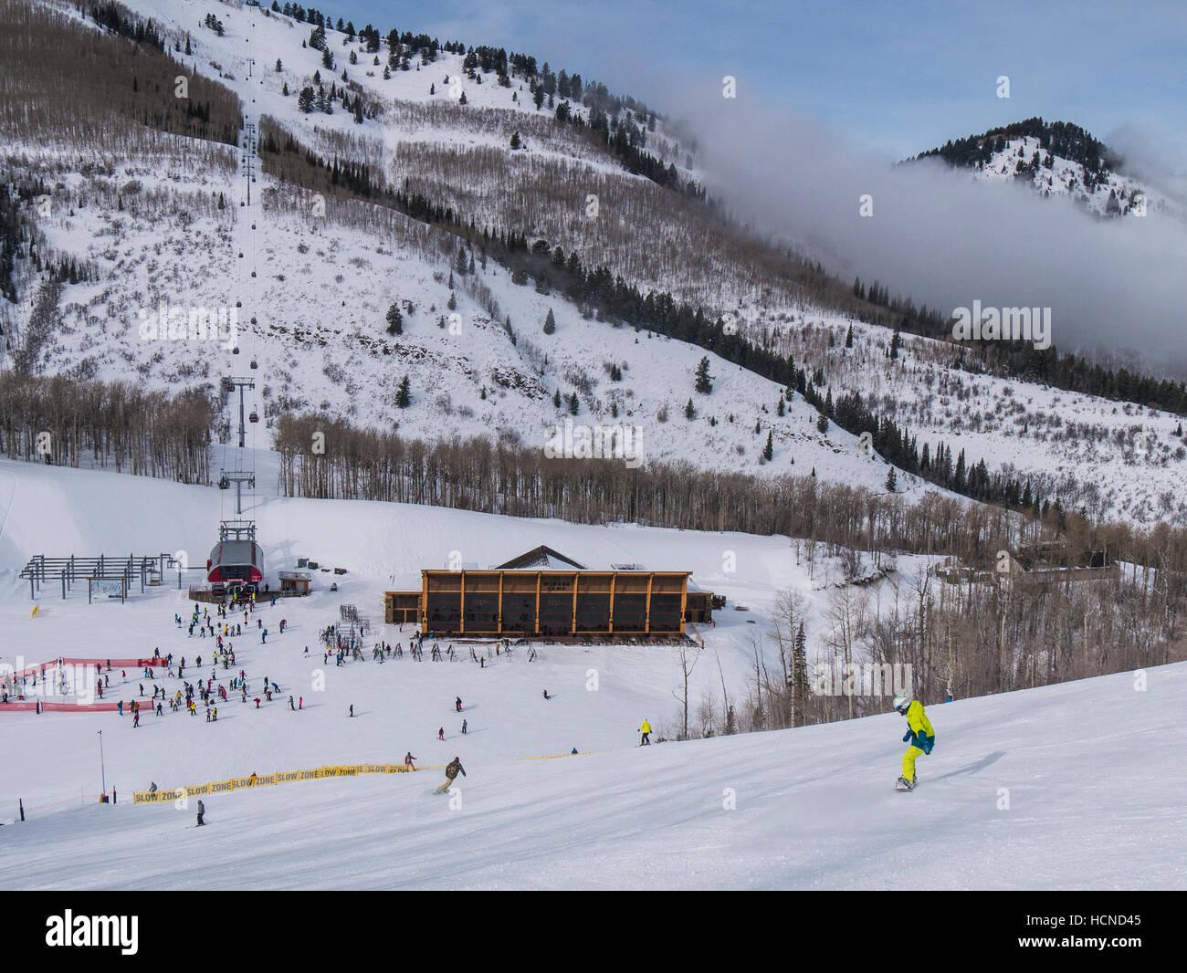 Miners Camp area and Quicksilver Gondola, Park City Mountain Resort, Park City, Utah. - Stock Image