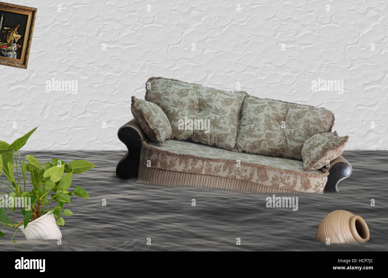 Flood, insurance damage, household items, home insurance, home insurance, house under water, natural disaster - Stock Image